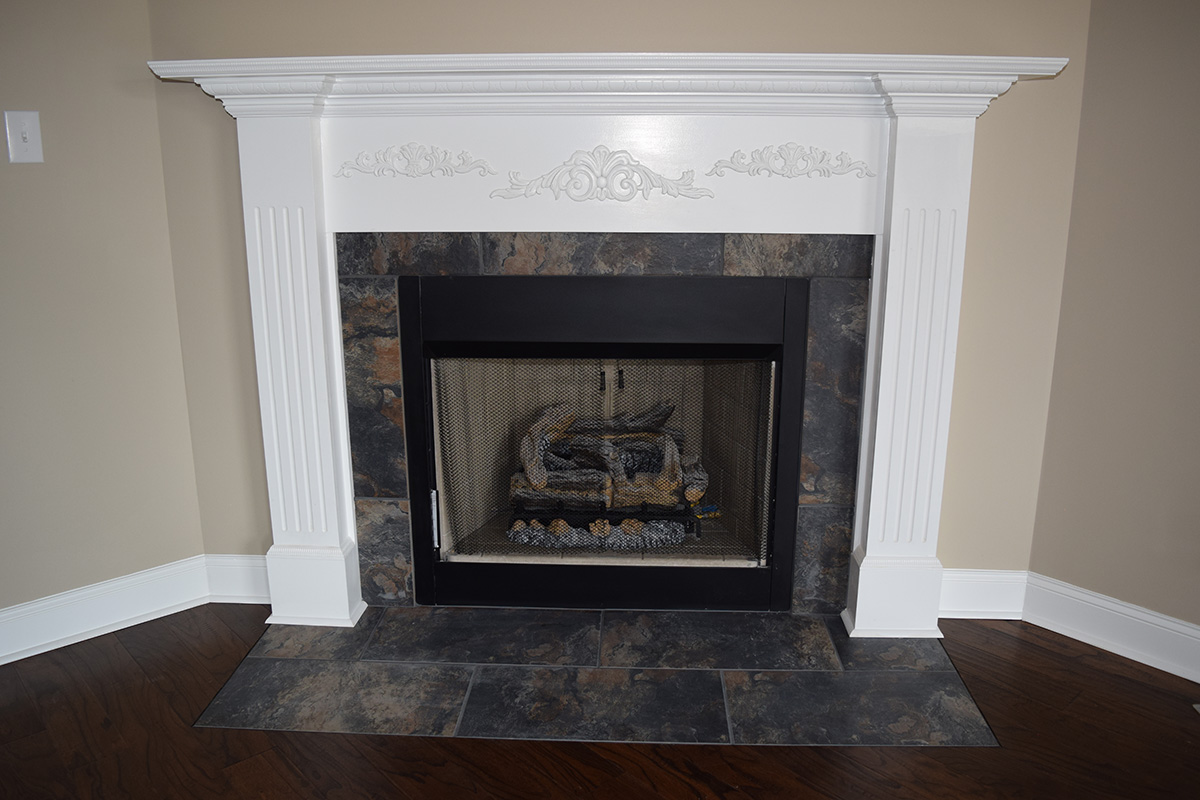 Hill Construction Marbled Stone Gas Fireplace